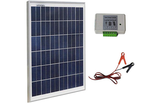 ECO-WORTHY Solar Panel & Aluminum Battery Clips & 3A Charge Controller