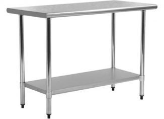 FDW Antirust Metal Stainless Steel Kitchen Table with Adjustable Legs