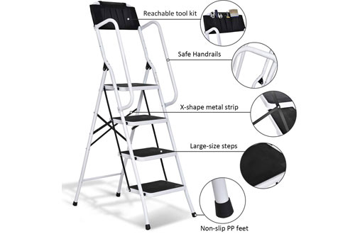 Giantex 4 Step Folding Ladder for Home and Work Use
