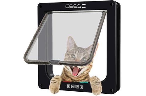 CEESC Cat Flap Door Magnetic Pet Door with 4 Way Lock