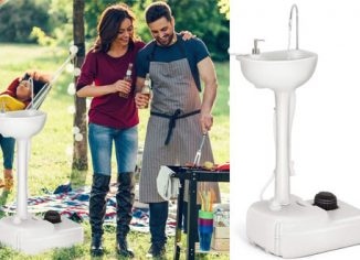 Giantex Portable Sink for Campingwith Rolling Wheels and Foot Pump