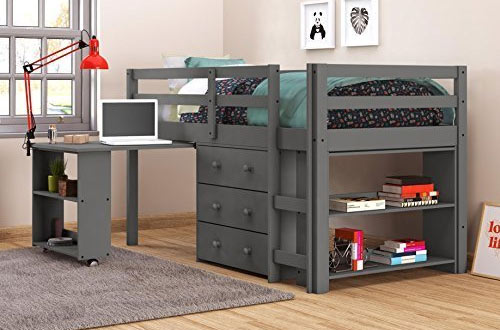 DONCO KIDS 760-TDG Twin Low Loft Bed with Desk