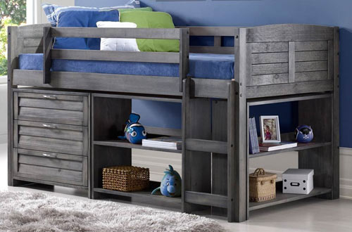 Donco Kids 790-TAG-B Louver Twin Low Loft Bed