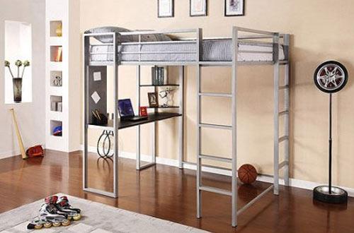 Abode Black Full Metal Loft Bed Over Workstation Desk
