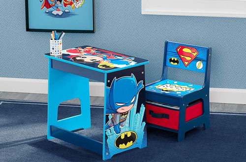 DC Super Friends Kids Wood Desk and Chair Set