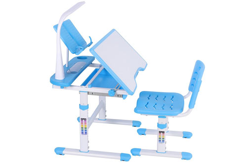 Yosooo Children Study Table and Chair for Kids with Lamp