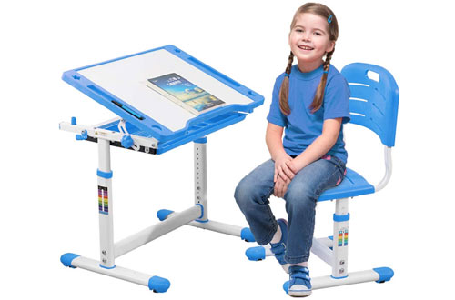 FDW Study Children Desk and Chair Set with Storage Blue