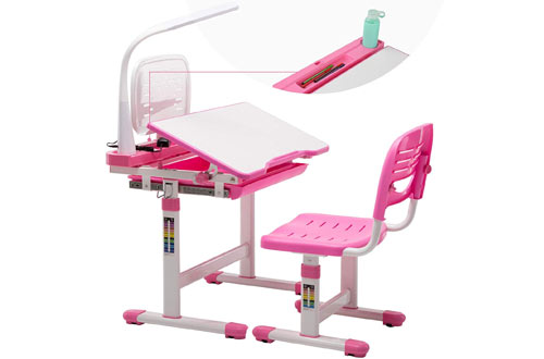 MecorChildren Desk and Chair Set -School Student Sturdy Table with Lamp
