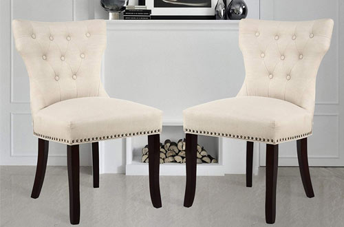 LSSBOUGHT Leisure Brown Padded Dining Chairs with Solid Wooden Legs