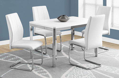 Monarch Specialties White Leather Dining CHAIR