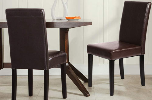 FDW Urban Style Leather Dining Chairs with Solid Wood Legs Chair