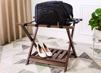 AmazonBasics Folding Wooden Suitcase Luggage Stand