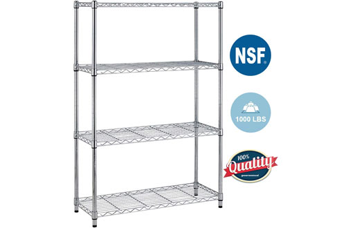 BestOffice 4 Shelf Large Metal Storage Shelves - Wire Shelving Unit