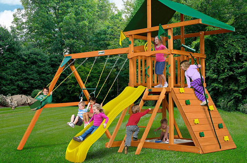 Outing Play and SwingSets with Wave Slide, Swings, Rock Climbing Wall