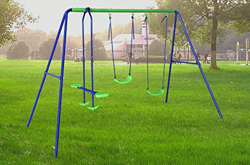 BestValue Go Metal A-Frame 2- Seat Swing Set with One Seesaw