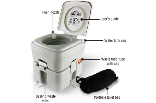 SereneLife Outdoor Portable Toilet - Travel Toilet for Camping