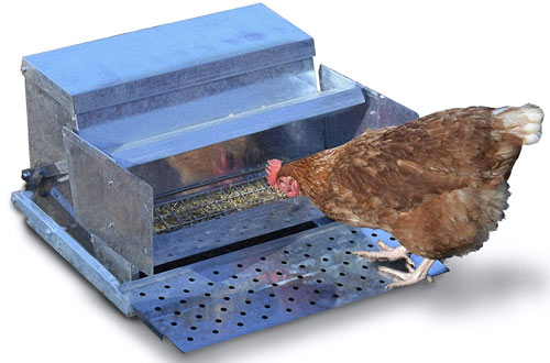 RentACoop Metallic Treadle Feeder - Holds up to 25 LBS of Feed