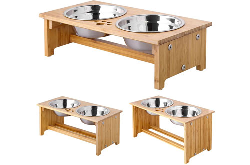 FOREYY Raised Wood Dog Bowl Stand - Water Bowls Stand Feeder