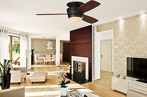 Mazon LED Flush Mount Ceiling Fan with Light Kit and Remote