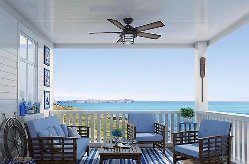 Hunter Indoor/Outdoor Flush Mount Ceiling Fans with Light