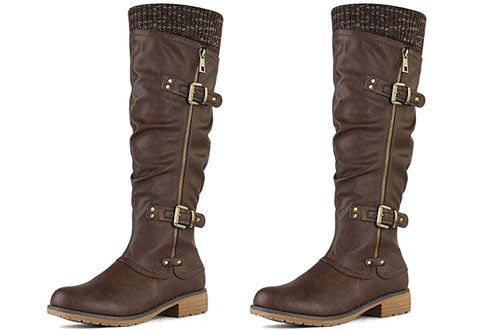 DREAM PAIRS Women's Side Zipper Knee High Riding Boots