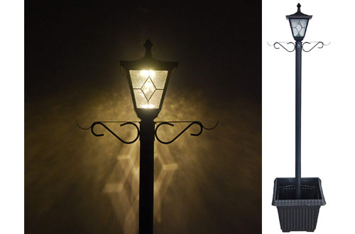 Kemeco LED Cast Aluminum Solar Lamp Post Lights with Planter Arm Hook