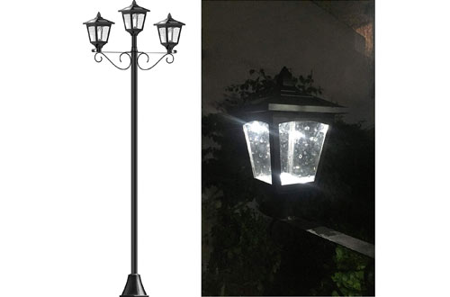 Solar Smart Creations Triple-Head Street Vintage Garden Solar Lamp Post Lights