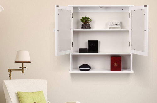 HOMFA Mirror Medicine Cabinet Organizer with Doors & Shelves