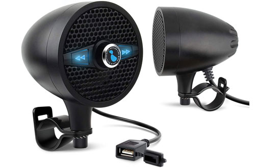 LEXIN LX-S3 Metal Motorcycle Speakers - Motorcycle Audio Systems with USB Port