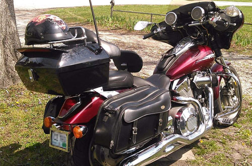 EGO BIKE Black Motorcycle Trunks & Luggage Box with Rack, Backrest & TailLight