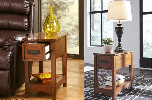 Signature Design Furniture Chairside Narrow Side Tables with Drawers