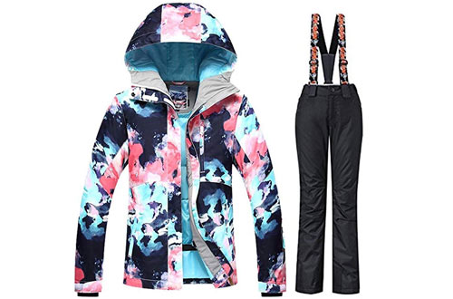 RIUIYELE Women'sWaterproof Snowboard Colorful Ski Jackets and Pants Set