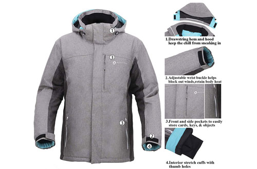 Andorra Men's Insulated Ski Jackets with Zip-Off Hood
