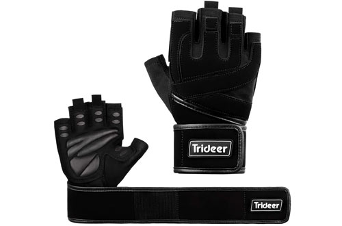 Trideer Padded Lifting Gloves - Exercise Gloves for Powerlifting & Cross-Training