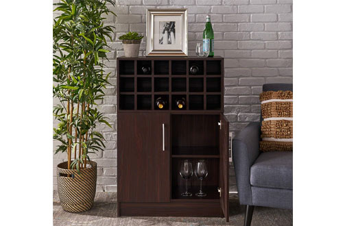 Rouche Mid CenturyFinished Faux WoodWine Cabinets for Bar or Kitchen