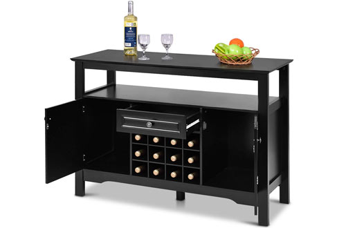 Giantex Buffet Server Wood Wine Cabinet Cupboard Tablewith Wine Opener