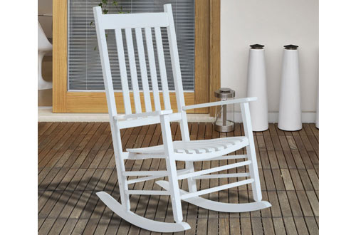 OutsunnyOutdoor Patio White Wooden Rocking Chairs