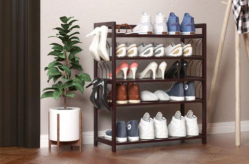 SCDXJ Shoe Rack Sturdy Shoe Rack Bench,2-Tier Bamboo Shoe Organizer,Storage Shelf Holds Up to,Ideal for Entryway Bathroom Living Corridor
