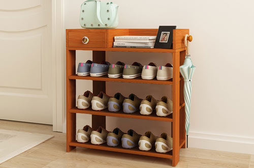 Jerry & Maggie Wood Shoe Racks with Drawer