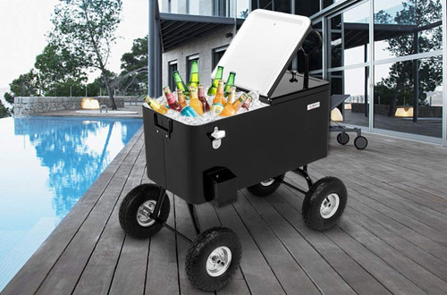 VINGLI Wagon Rolling Cooler Ice Chest -Outdoor Park Cart on Wheels
