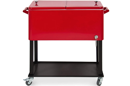 BestSteel Outdoor Rolling Cooler Cart with Bottle Opener and Catch Tray