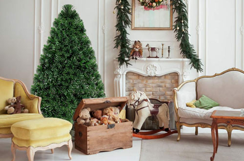 Goplus 4 Ft Artificial PVC Christmas Tree Pre-Lit Fiber Optic Tree