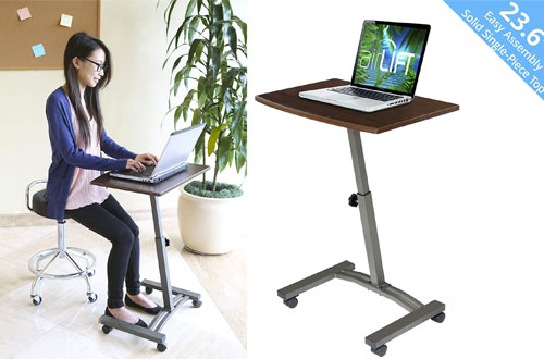 Seville Classics Solid-Top Height Adjustable Mobile Laptop Carts