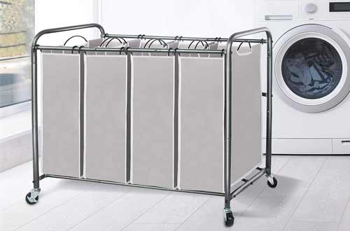 STORAGE MANIAC Laundry Hamper Cart with Lockable Wheels
