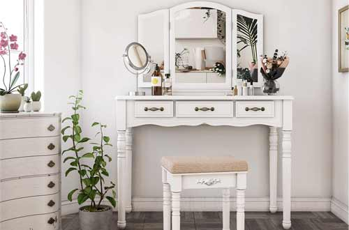 SONGMICS White Vanity Desk with Mirror and Drawers