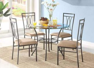 MSS Modern Round Glass Dining Table Set for 6